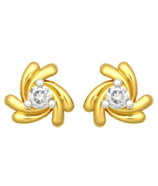 Corona 18 Kt Yellow Gold Diamond Stud Earrings