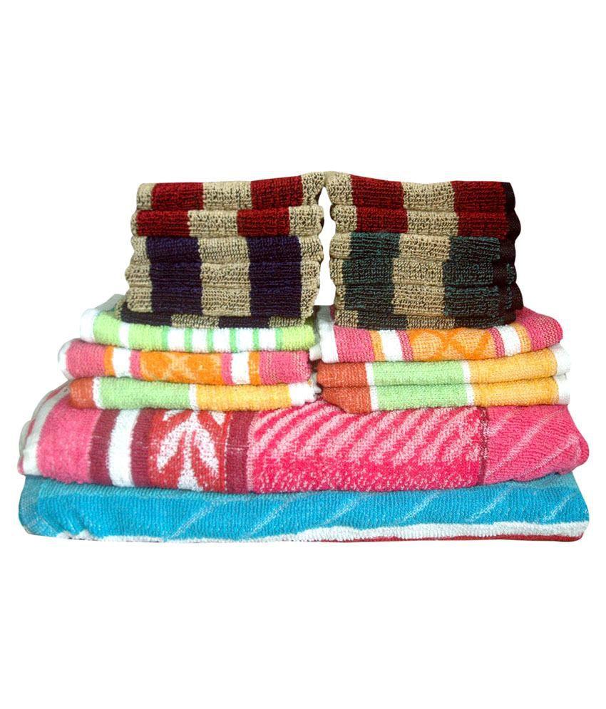 Fzyme Set of 20 Cotton Towels - Multi Color