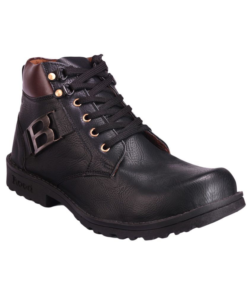 Royal Chief Black Synthetic Leather Boots