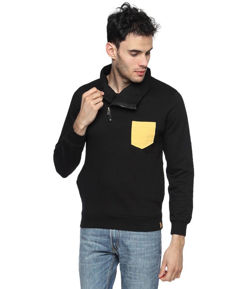 Campus Sutra Black Full Sleeved Cotton High Neck Sweatshirt