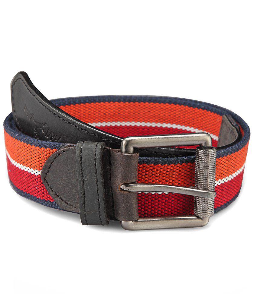 Randier Orange & Red Canvas Casual Belt