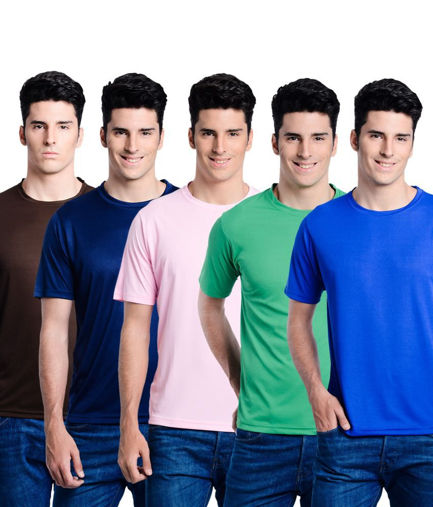 Superjoy Blue Polyester Round Neck T Shirts Combo Of 5