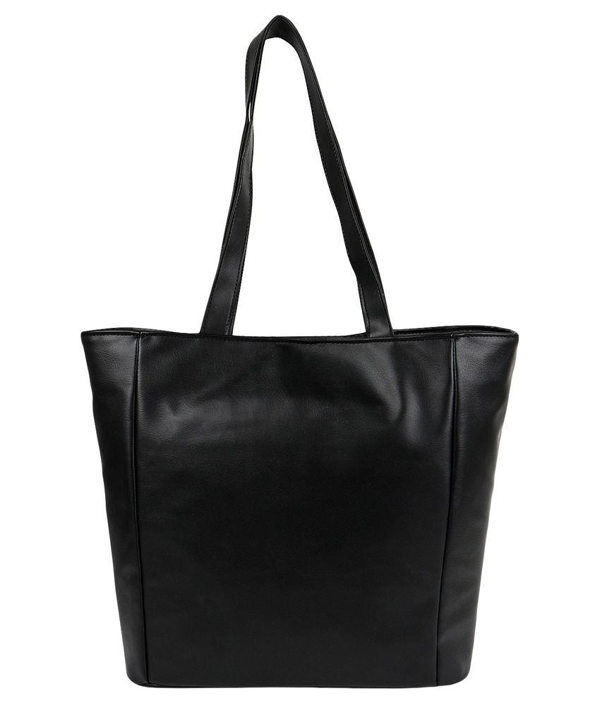 Anekaant Black P.U. Tote Bag