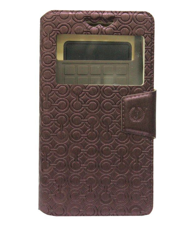 Jo Jo Astro Series Leather Flip Cover With Silicon Holder for Samsung Wave 3 S8600 - Brown