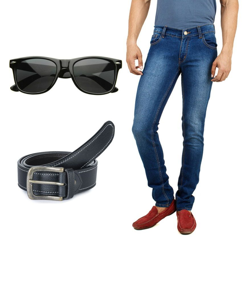 Stylox Combo Of Dark Blue Jeans And Get Wayfarer And Black Belt - Buy Stylox Combo Of Dark Blue ...