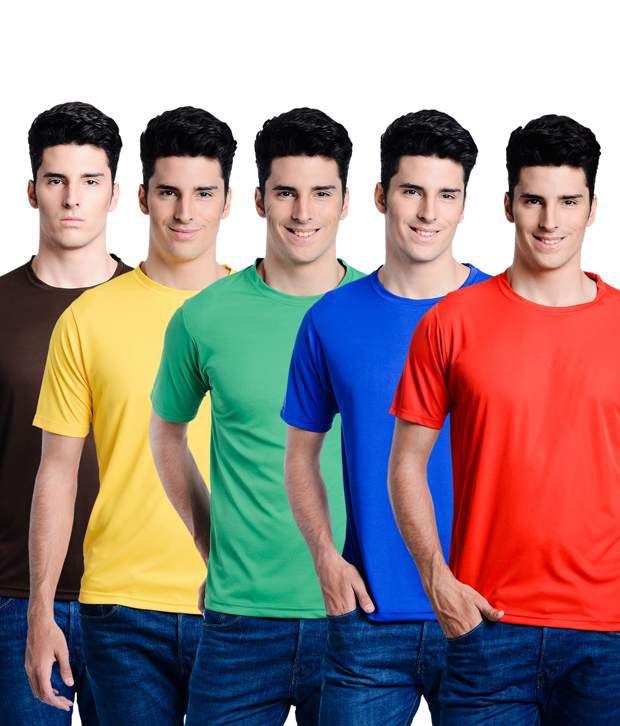 Superjoy Multicolour Polyester Round Neck T Shirts - Set of 5