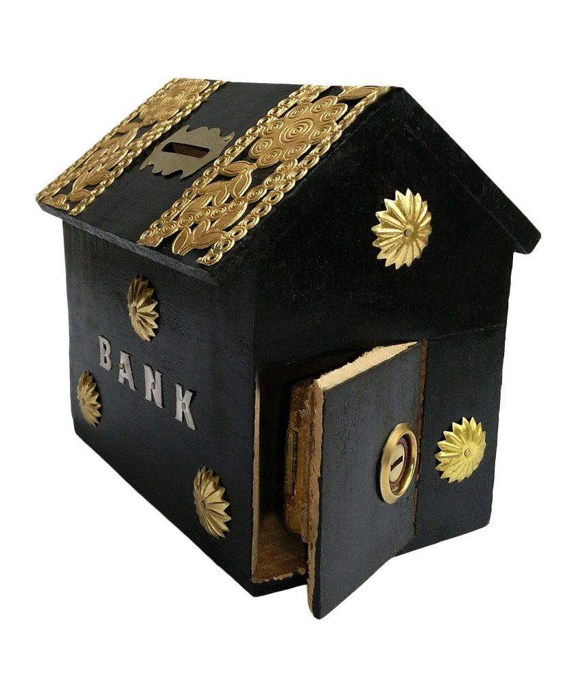 Craftatoz  Black Wooden Money Bank For Kids