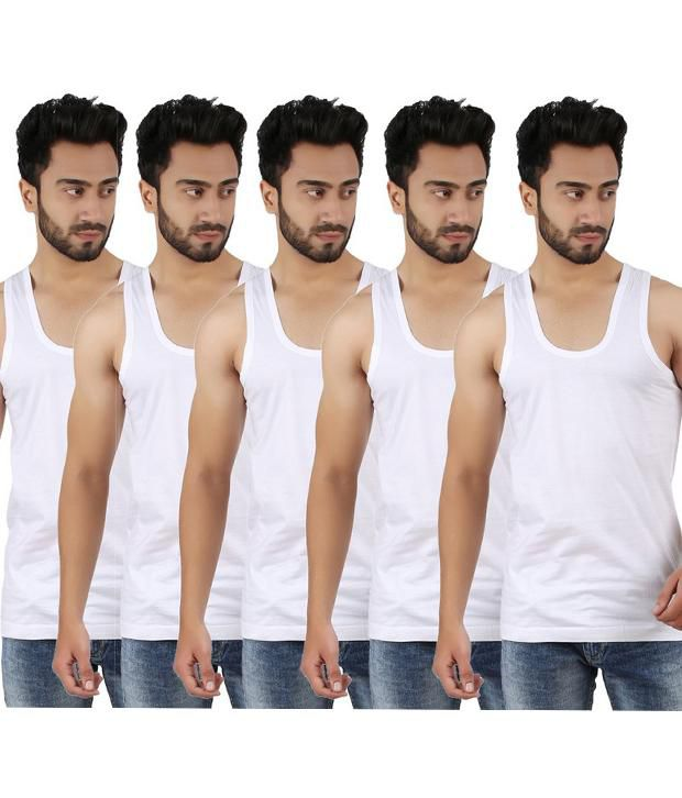 Sixer White Sleeveless Vests
