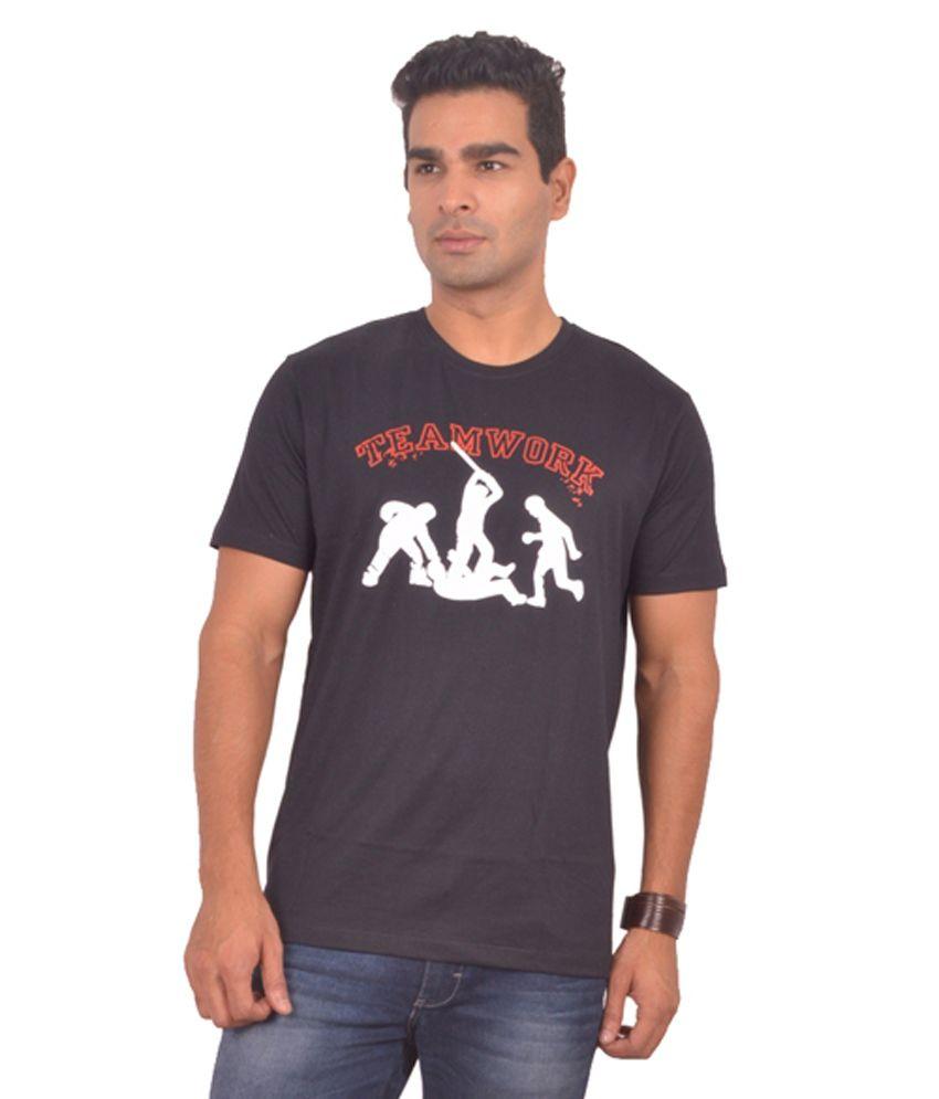Sonic Tees Black Cotton Printed Round Neck T-Shirt