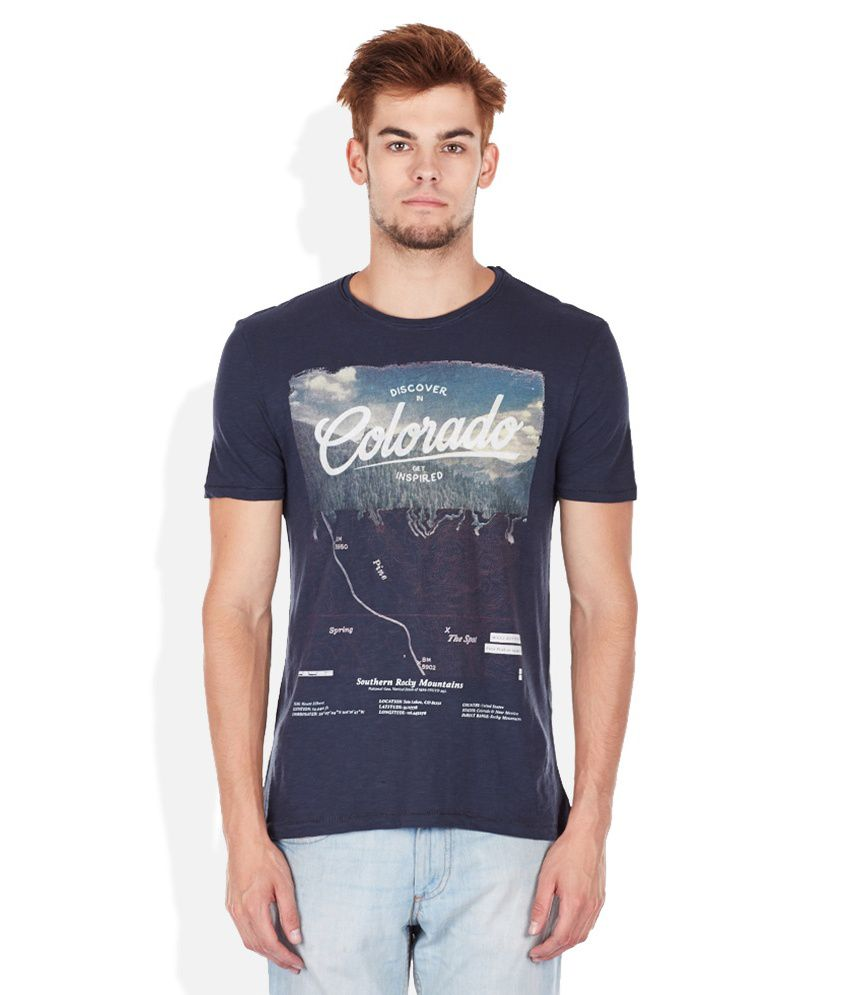 Celio Blue Printed Round Neck T Shirt