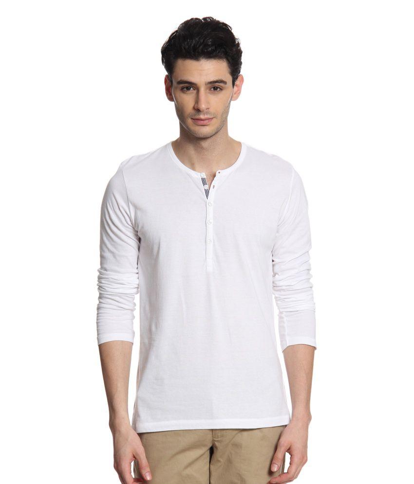 Cottonworld White Cotton Full Basic T Shirt