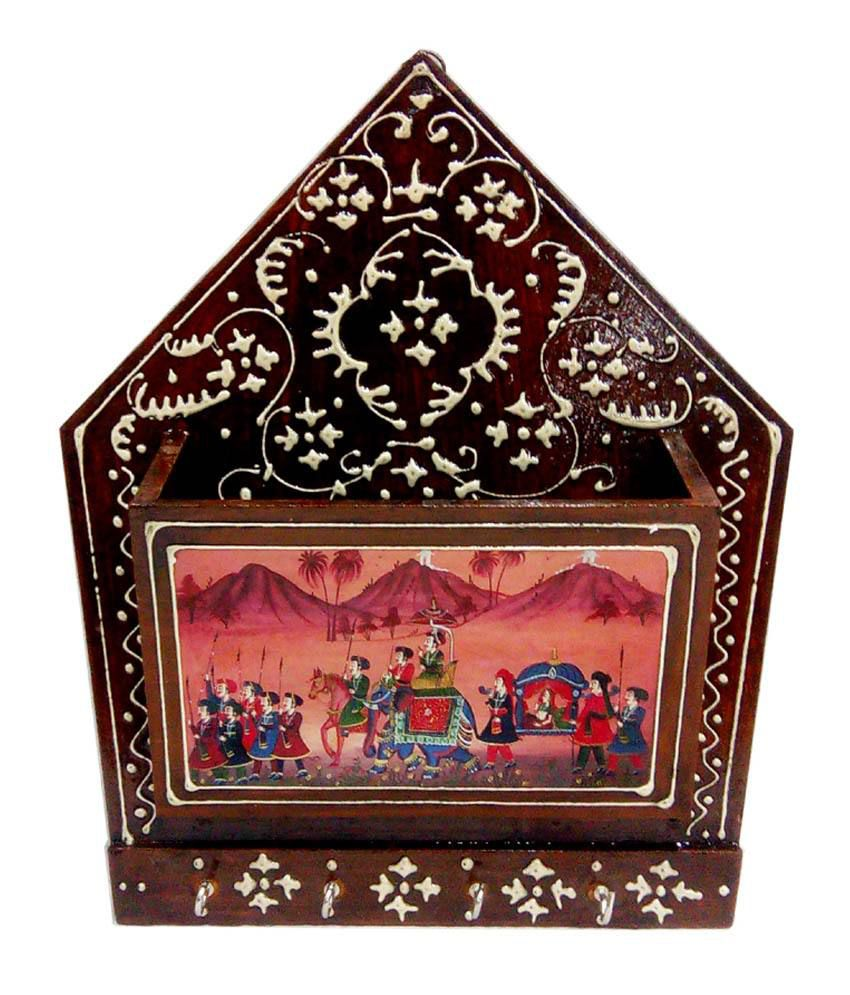 Fab Rajasthan Brown Wooden Embossed Work And Traditional Hand Painting 4 Key Holder