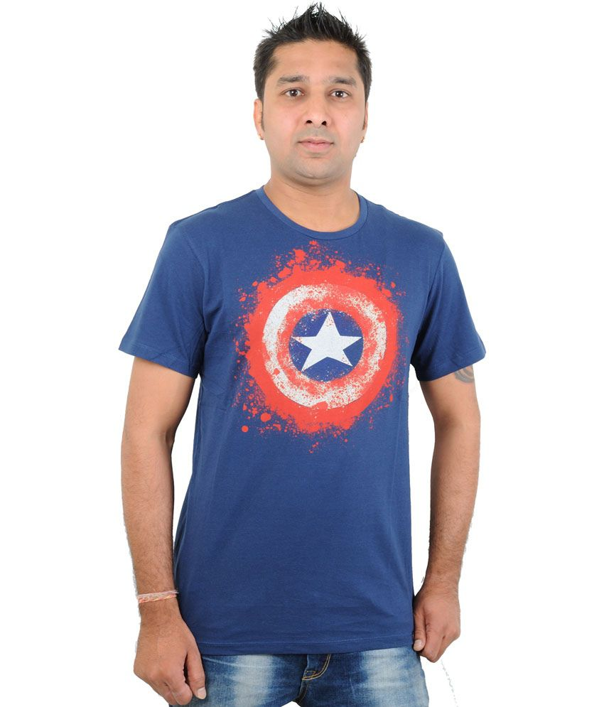 Free Authority Blue Cotton Round Neck T-Shirt