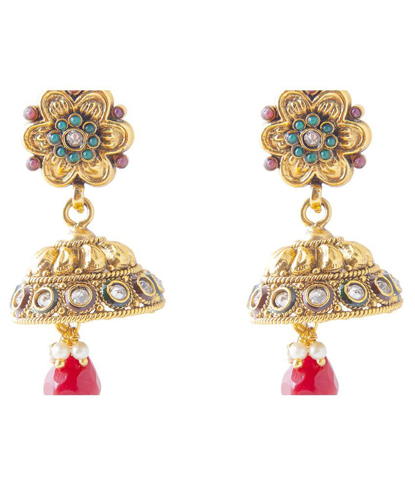 Mokanc Multicolor Kundan Bridal Flower Design Drop Earrings