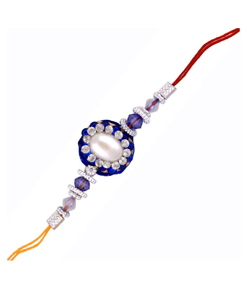 Send Rakhi Send Rakhi Multicolor Fabric Rose Cut Rakhi