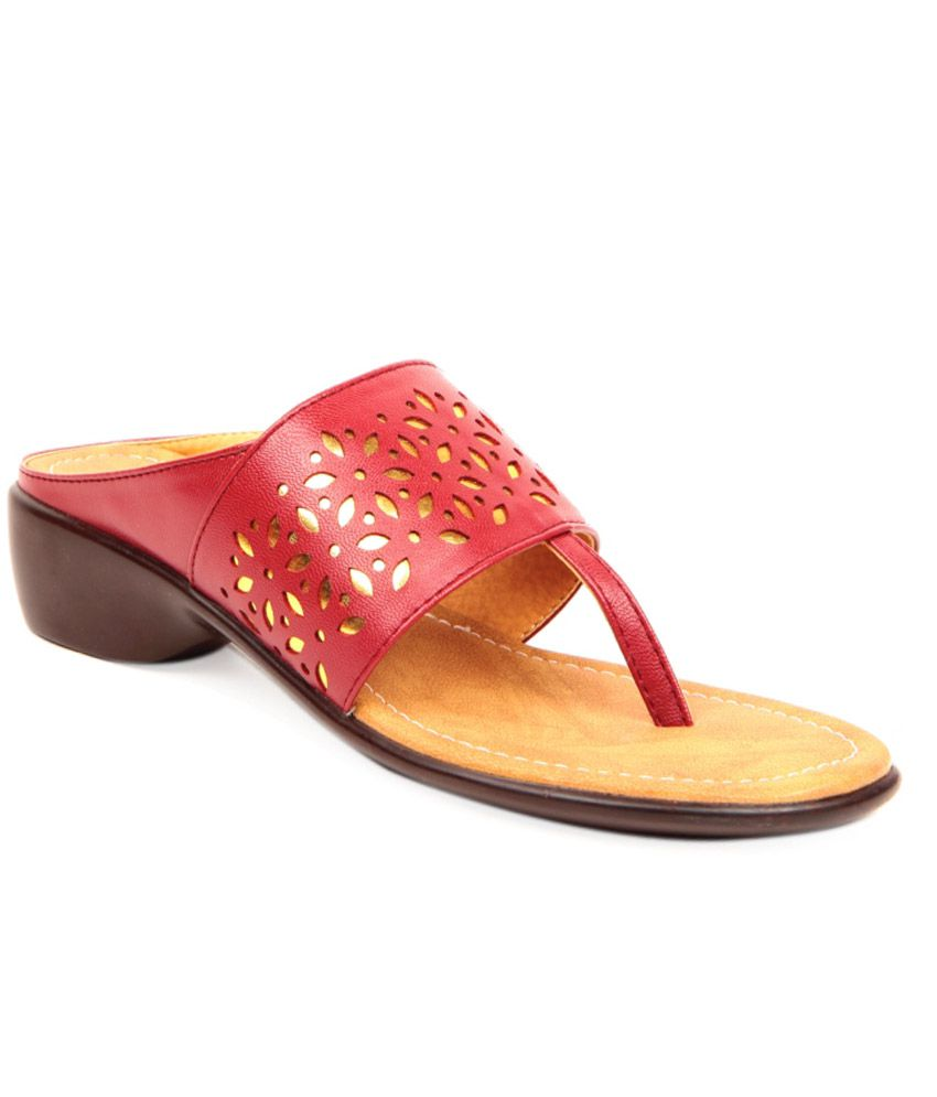 Queen Soft Red Heeled Slip-Ons