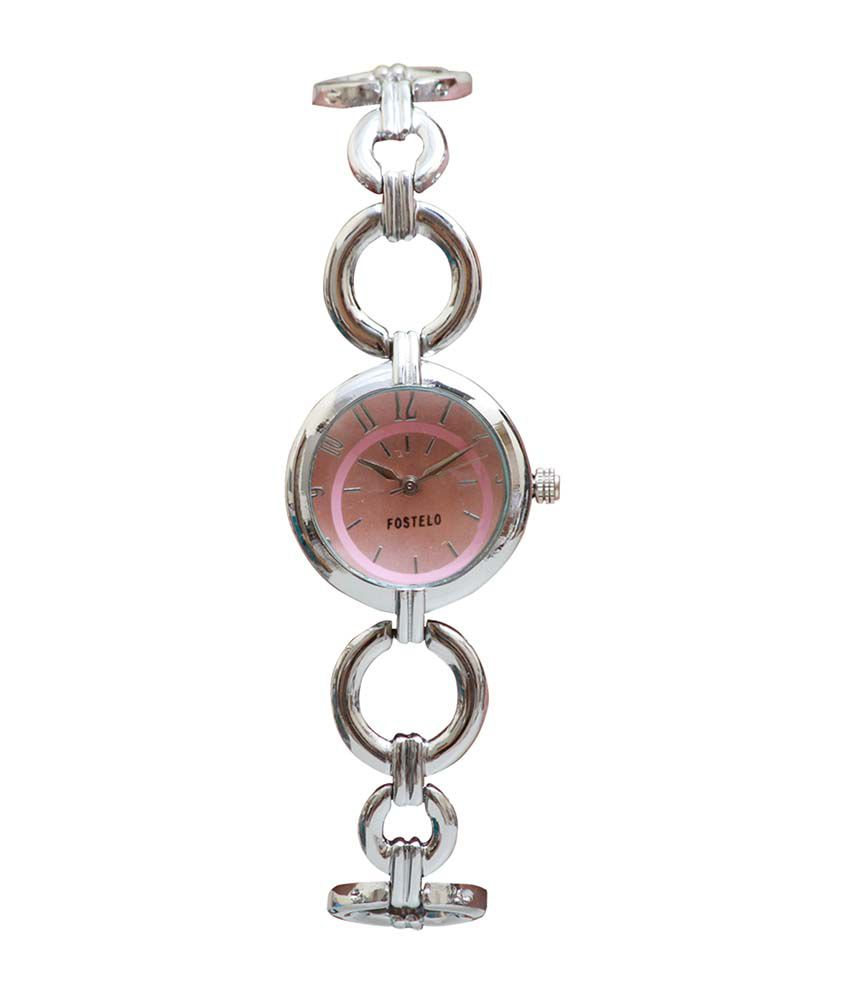 Fostelo Pink Round Dial Analog Casual Watch