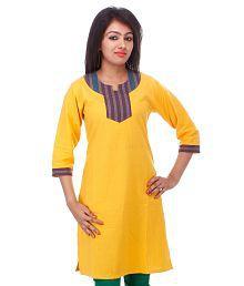 Tribes India Long Kurta women Yellow Handwoven Fabric