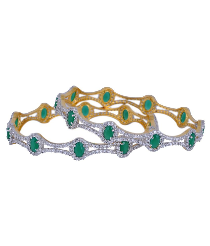 Chaahat Fashion Jewellery Green Copper Toggle Bangle Set