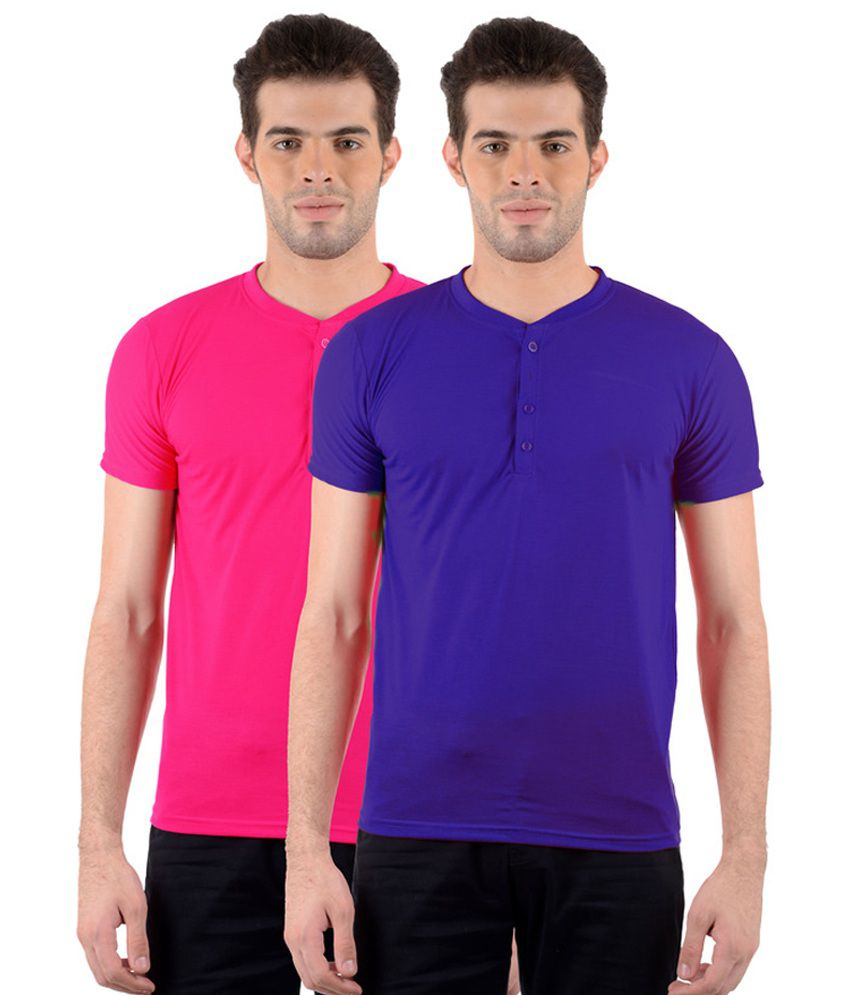GDivine Men's Henley Blue & Pink T-Shirts (Pack of 2)