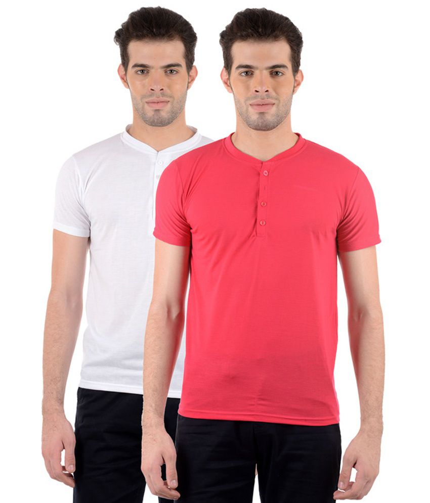 GDivine Men's Henley Red & WhiteT-Shirts (Pack of 2)