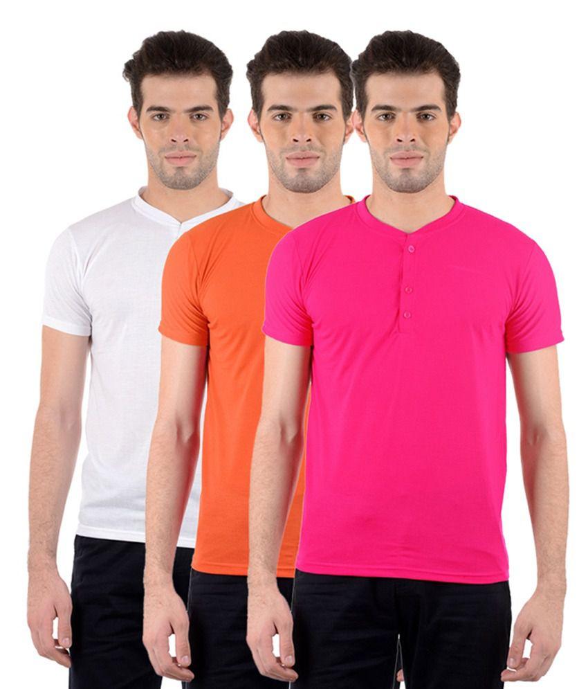 GDivine Men's Henley White, Pink & Orange T-Shirts (Pack of 3)
