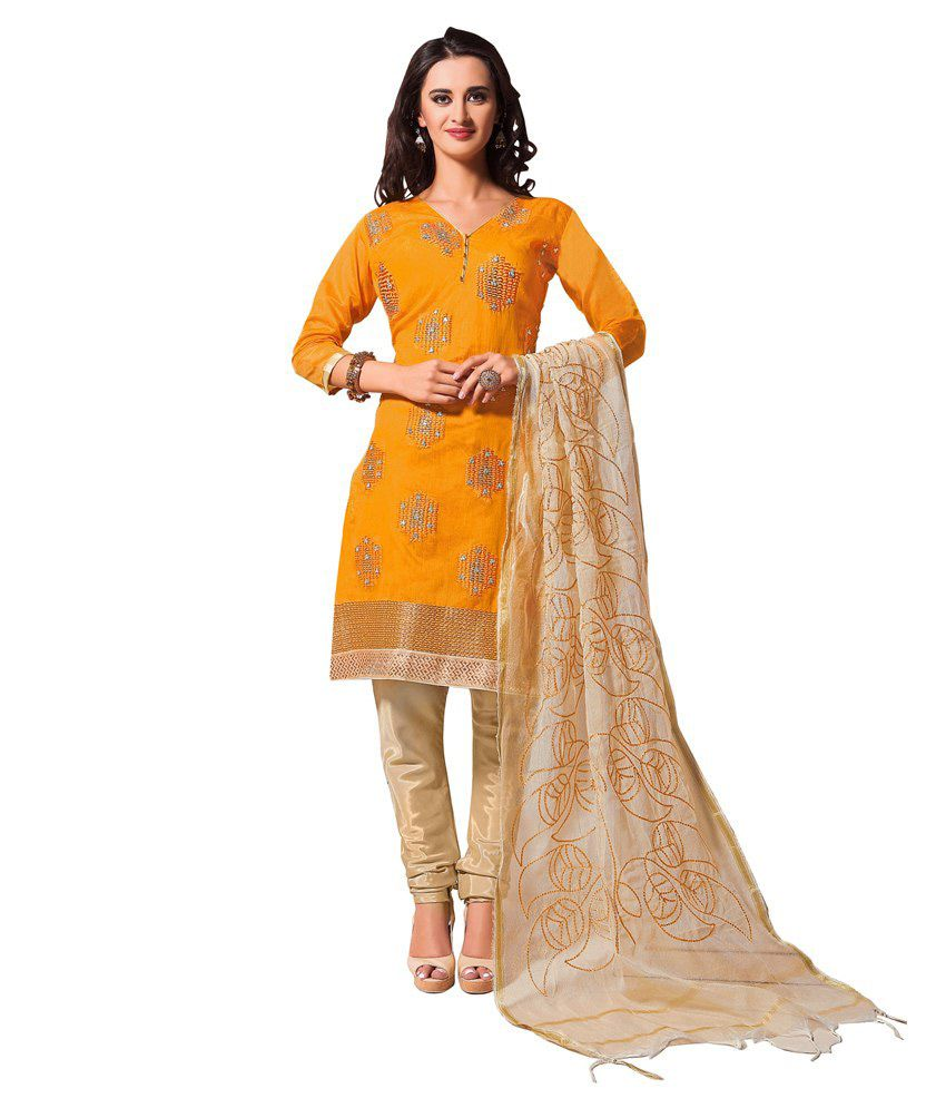 Khushali Yellow Chanderi Regular Unstitched Dress Material