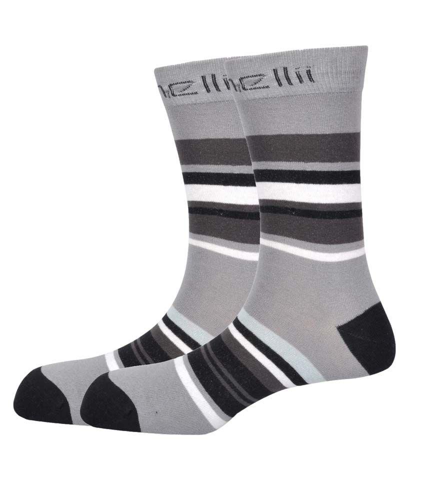 Pinellii Gray Casual Full Length Socks Pack Of 2