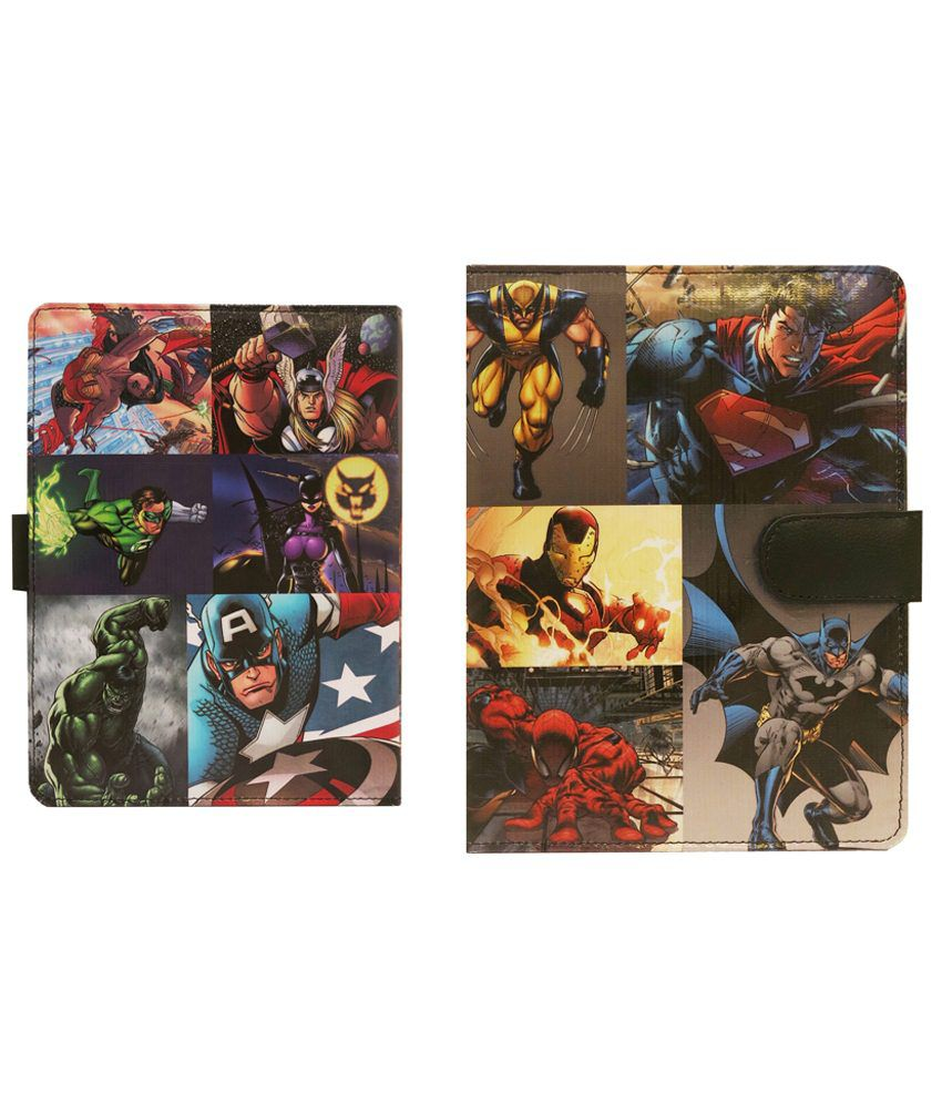 10 Am Superheroes Flip Cover For Apple iPad-Multicolour