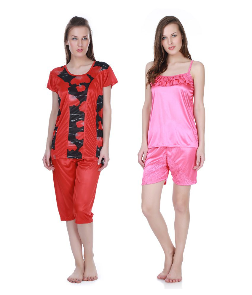 Claura Red Satin Nightsuit Sets Pack of 4