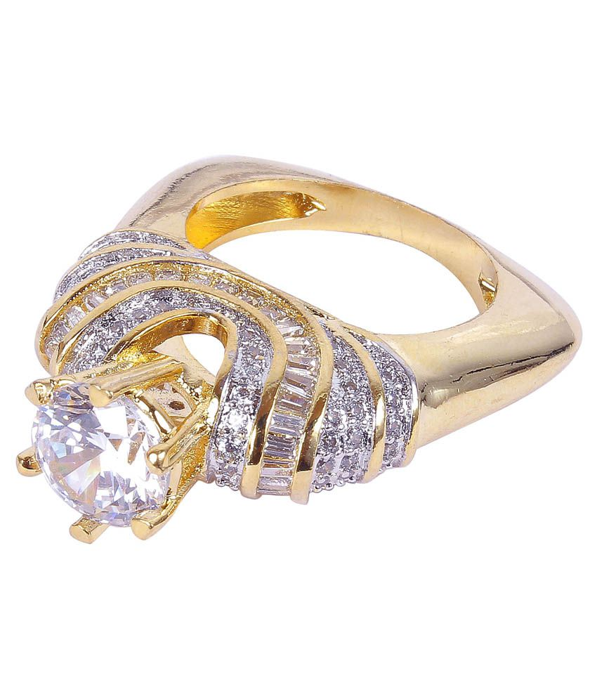 Much More Bollywood Design CZ Stone Gold Plated Fashion Finger ...