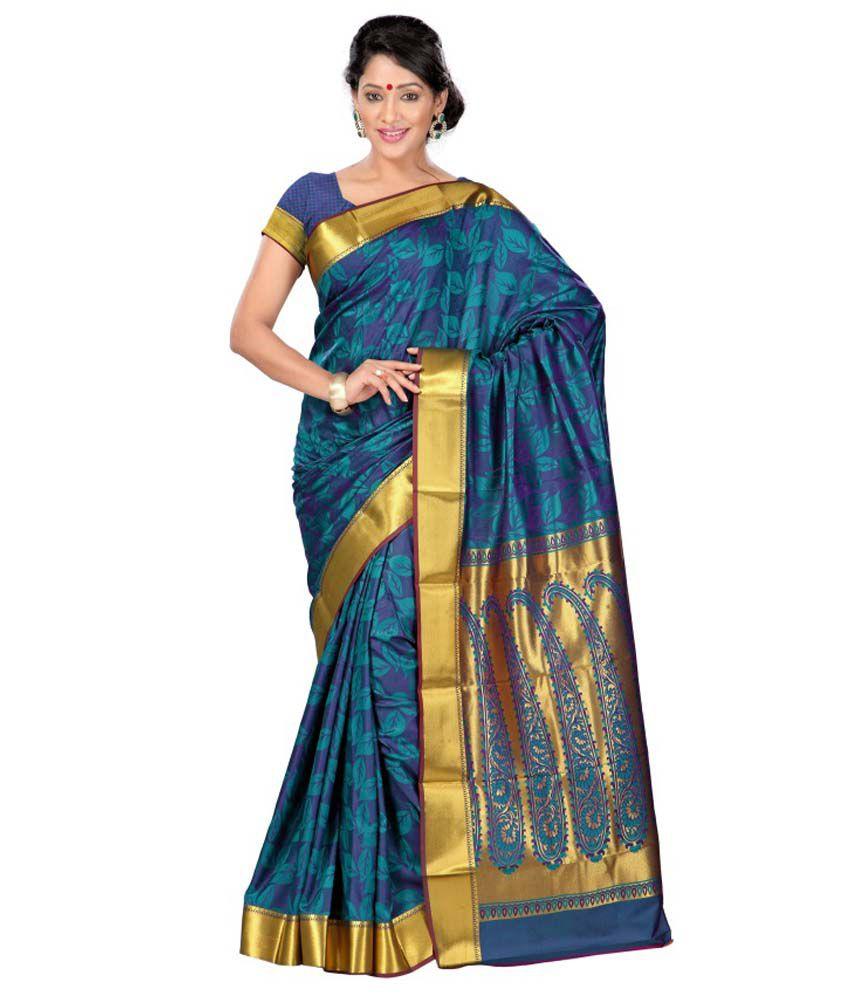 Varkala Silk Sarees Blue and Beige Art Silk Saree