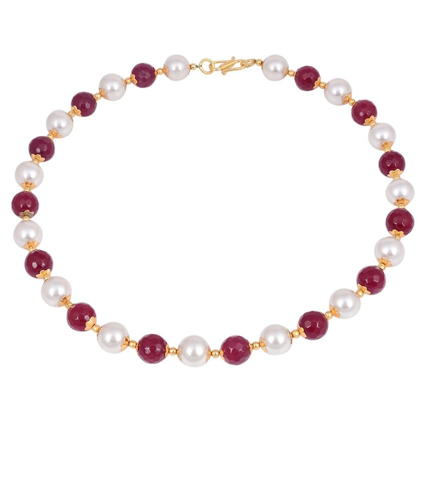 Jewelina Gems Maroon & Silver Brass & Copper Etc Necklace