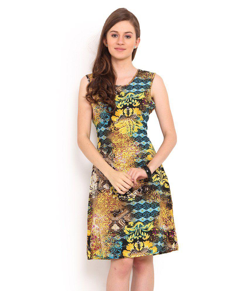 Sweet Lemon Yellow Crepe A Line Dress