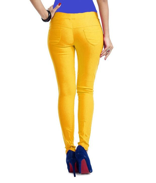 ... Thinline Yellow Lycra Jeggings For Women ... - Buy Thinline Yellow Lycra Jeggings For Women Online At Best Prices