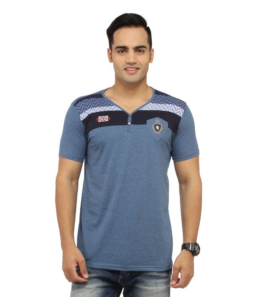 Tadka Blue Cotton Printed Casual V Neck T-Shirt