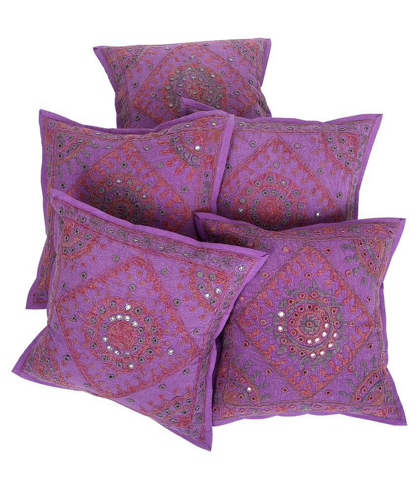 Rajrang Blue Cotton Cushion Covers Pack Of 5