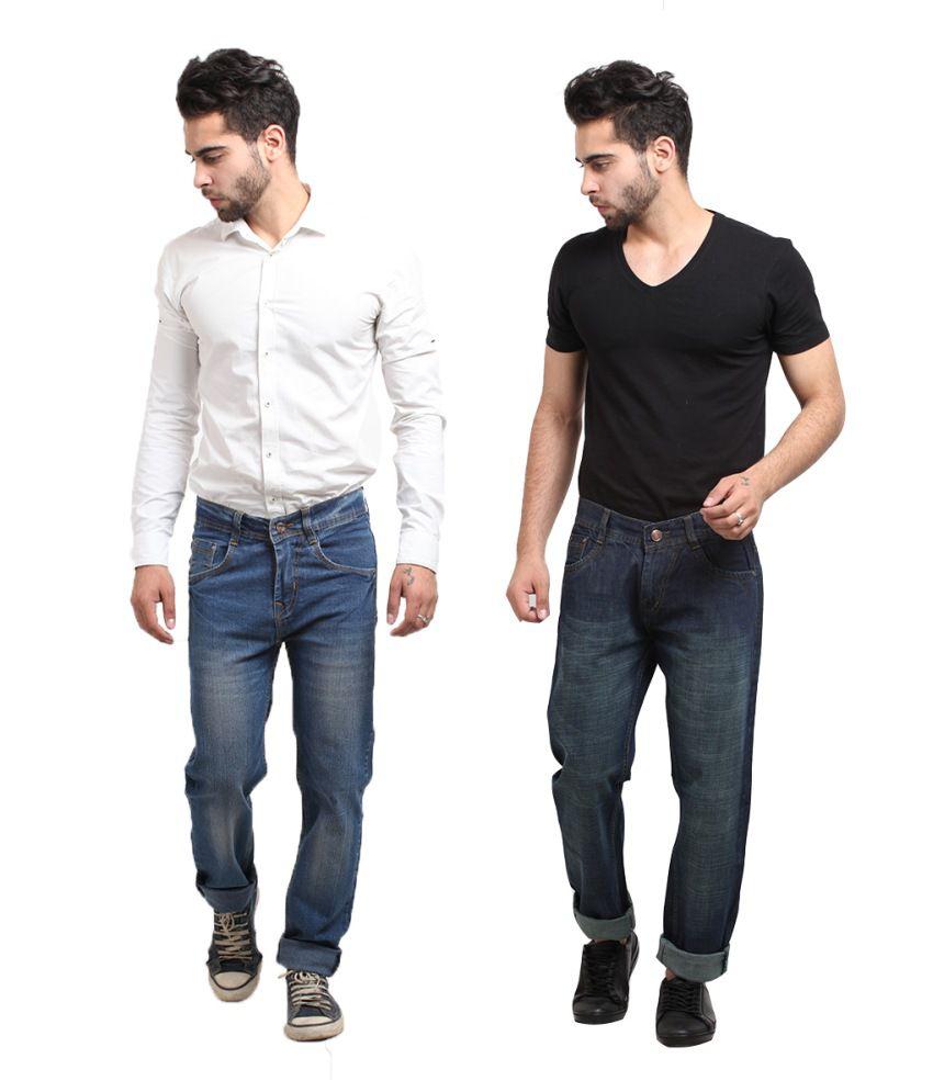X-cross Multicolor Cotton Blend Jeans Pack Of 2