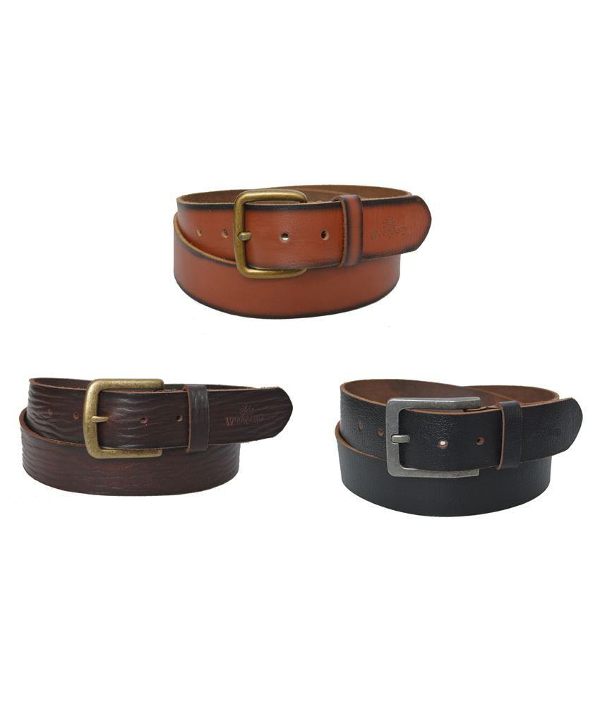 Woodland Black Leather Casual Belt Art BT1031