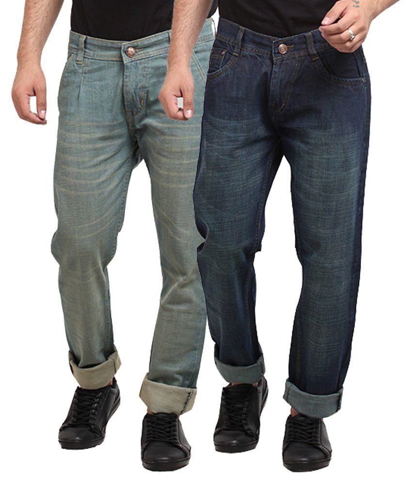 X-cross Multicolour Cotton Blend Regular Fit Jeans - Pack of 2