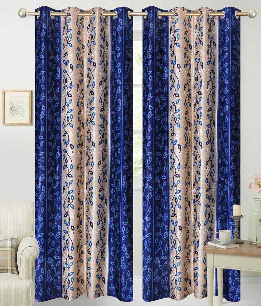 idecor single window eyelet curtain printed blue buy