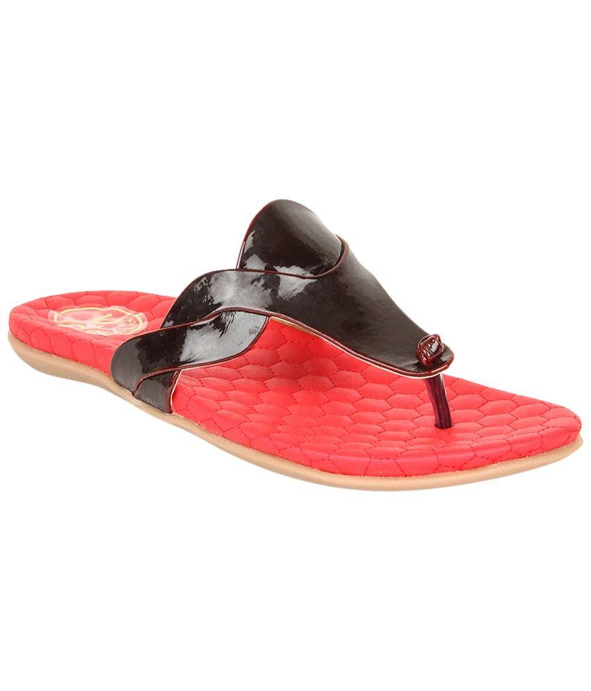 Lovely Chick Black & Red Flats for Women