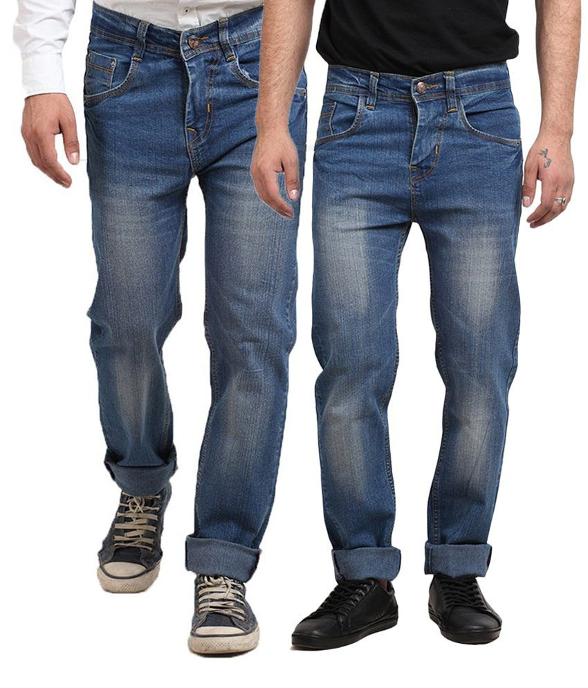 X-cross Multicolour Cotton Blend Regular Fit Jeans - Pack Of 2