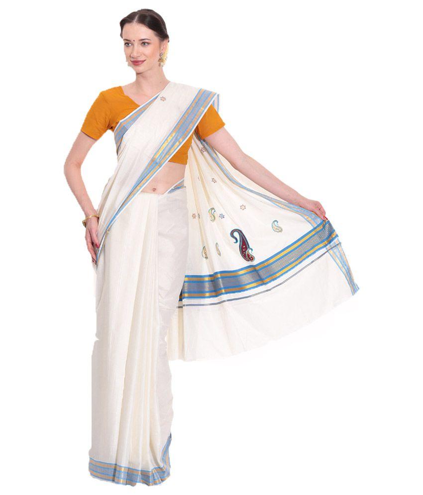 dcc4c448cd Fashion Kiosks White & White and Grey Kerala Kasavu Cotton Saree with  Matching Blouse - Buy Fashion Kiosks White & White and Grey Kerala Kasavu Cotton  Saree ...