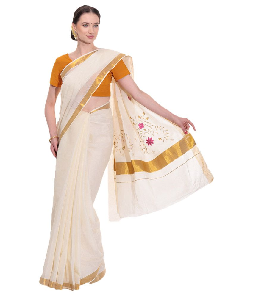 Fashion Kiosks White & Golden Kerala Kasavu Cotton Saree with Matching Blouse