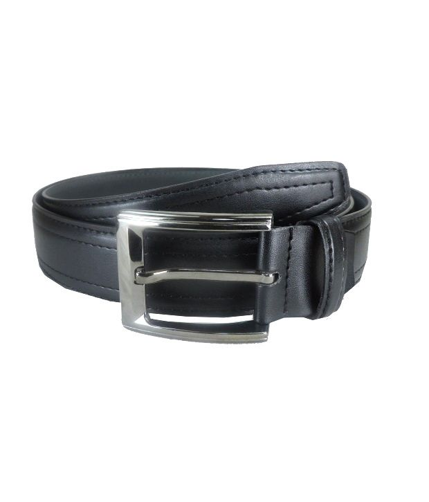 Leatherite Black Non Leather Pin Buckle Formal Belt