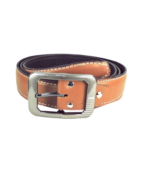 Leatherite Tan Non Leather Pin Buckle Casual Belt