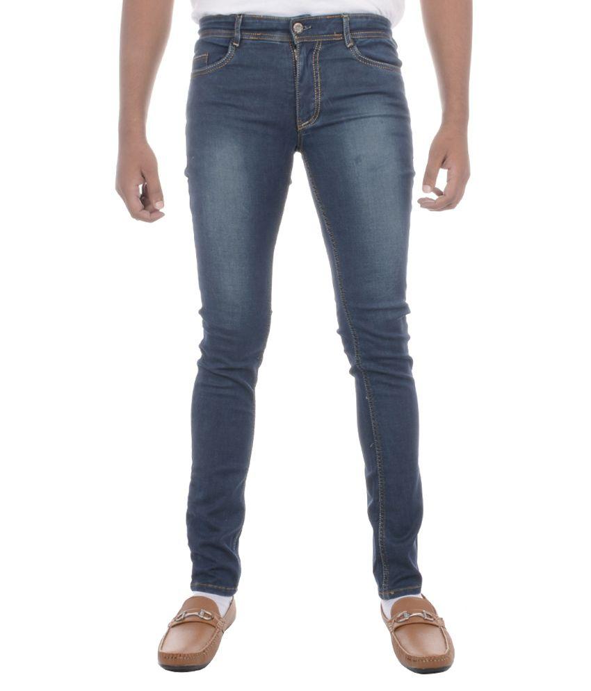 Moladz Navy Cotton Regular Fit Jeans