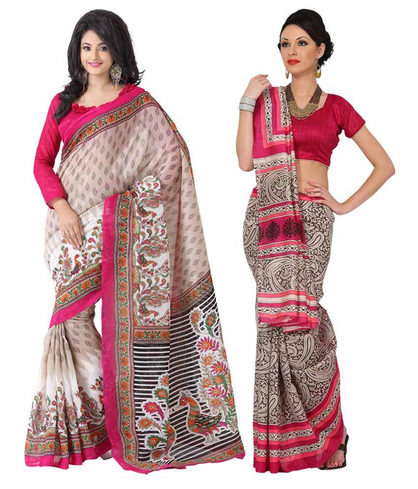 Womantra Multi-coloured Bhagalpuri Silk Saree (Pack of 2)