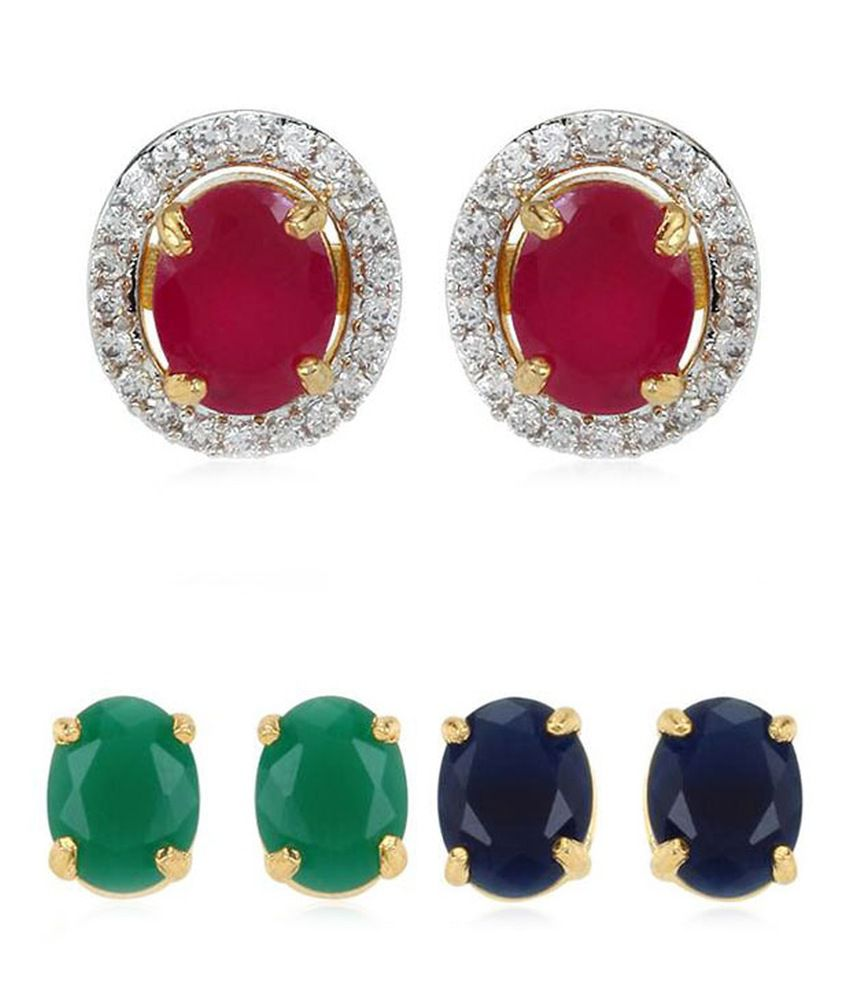 Jewels Gehna Alloy Interchangeable Stones Stud Earrings